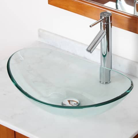 Elite GD332659C Tempered Bathroom Glass Vessel Sink W. Unique Oval Shape with Faucet Combo