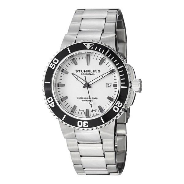 Stuhrling Original Men's Regatta Corvet Quartz Stainless Steel Bracelet Divers Watch - silver