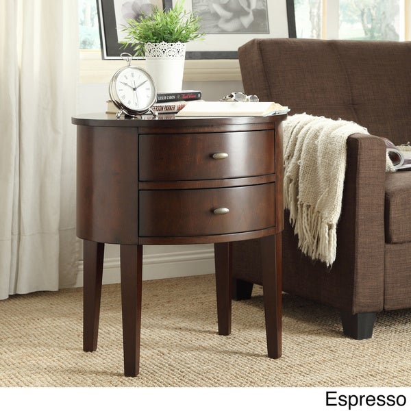 Aldine 2 Drawer Oval Wood Accent Table By INSPIRE Q Bold   Free Shipping  Today   Overstock.com   15561042