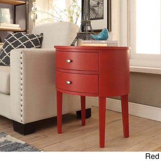 Aldine 2-drawer Oval Wood Accent Table by iNSPIRE Q Bold (Option: Red)