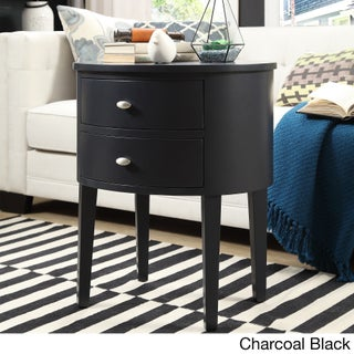 Aldine 2-drawer Oval Wood Accent Table by iNSPIRE Q Bold (Option: Charcoal Black)
