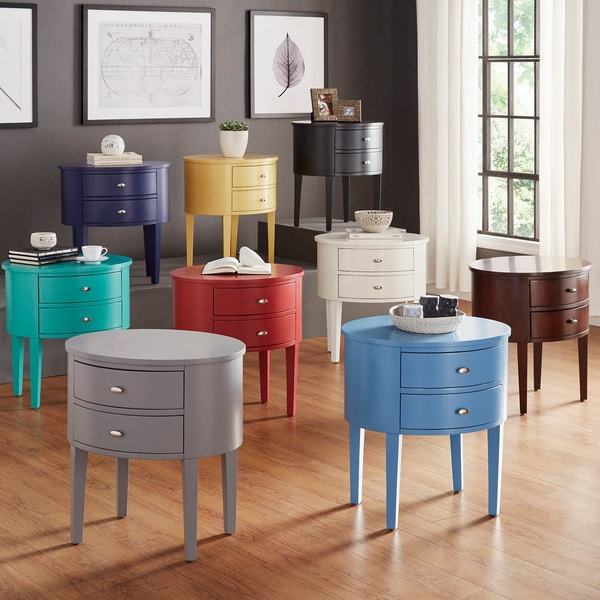 Aldine 2-drawer Oval Wood Accent Table by INSPIRE Q