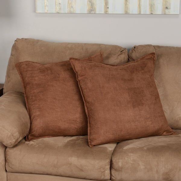 Faux Suede 22 Inch Decorative Pillows (Set Of 2)