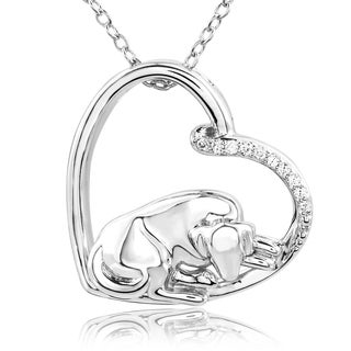 ASPCA Tender Voices Sterling Silver Sleepy Dog with Diamond Accent Necklace (I-J, I2-I3)