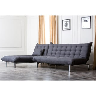 ABBYSON LIVING Bedford Gray Linen Convertible Sleeper Sectional Sofa