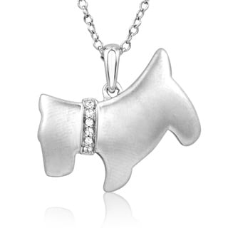 ASPCA Tender Voices Silver Diamond Accent Scottish Terrier Dog Necklace