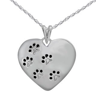 ASPCA Tender Voices Sterling Silver Paw Print Heart Necklace with Diamond Accent (I-J, I2-I3)