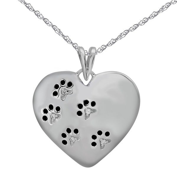 Tender Voices Sterling Silver Diamond Accent Paw Print Heart Pendant