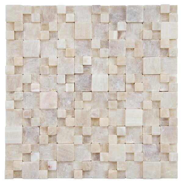 SomerTile 12x12-inch Griselda Gaodi Yellow Jade Natural Stone Mosaic Wall Tile (Pack of 10)