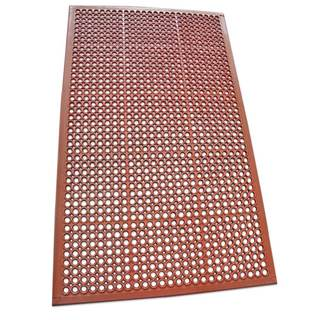 Rubber-Cal 1/2 Dura-Chef Non-Slip Rubber Drainage Mat - 1/2inch x 3ft x 5ft - Red Rubber Mats