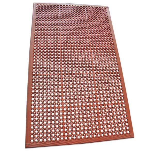 "Rubber-Cal ""1/2"" Dura-Chef"" Non-Slip Rubber Drainage Mat - 1/2inch x 3ft x 5ft - Red Rubber Mats"