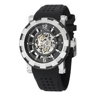 Stuhrling Original Men's Automaton Automatic Skeleton Rubber Strap Watch - black/silver