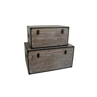 Handmade Distressed Wood Industrial Trunks (China)