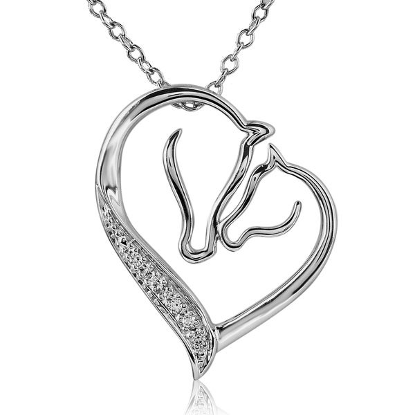ASPCA Tender Voices Sterling Silver Diamond Accent Horse Love Necklace