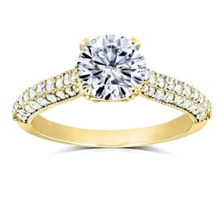 Annello by Kobelli 14k Gold Round-cut Moissanite and 1/2 ct TDW Pave-set Diamond Engagement Ring