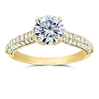 Annello by Kobelli 14k Gold 1 1/2ct TGW Round-cut Moissanite (HI) and Diamond Micro-pave Engagement Ring