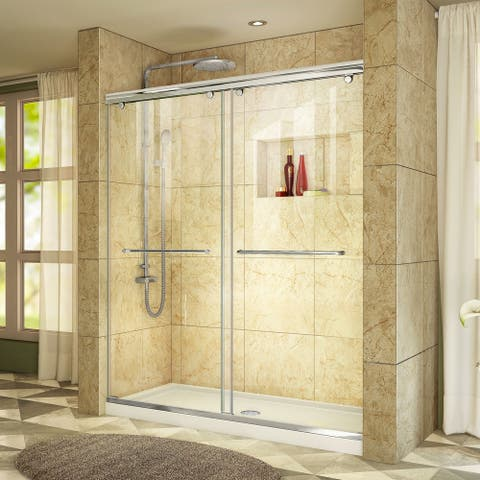 """DreamLine Charisma 32 in. D x 60 in. W x 78 3/4 in. H Bypass Sliding Shower Door and Shower Base Kit - 32"""" x 60"""""""