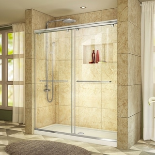 DreamLine Charisma Frameless Bypass Sliding Shower Door and SlimLine 32 x 60-inch Single Threshold Shower Base