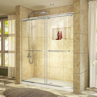 DreamLine Charisma Frameless Bypass Sliding Shower Door and SlimLine 32 in. by 60 in. Single Threshold Shower Base (More options available)