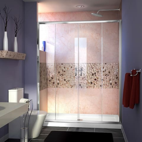 """DreamLine Visions 32 in. D x 60 in. W x 74 3/4 in. H Sliding Shower Door and Shower Base Kit - 32"""" x 60"""""""