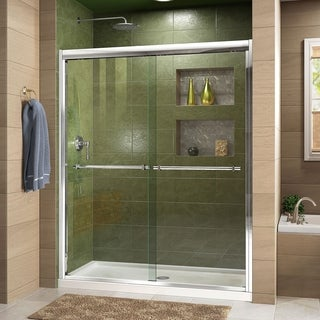 DreamLine Duet Frameless Bypass Sliding Shower Door and SlimLine 30 x 60-inch Single Threshold Shower Base
