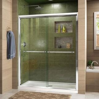 DreamLine Duet Frameless Bypass Sliding Shower Door and SlimLine 36 in. by 48 in. Single Threshold Shower Base