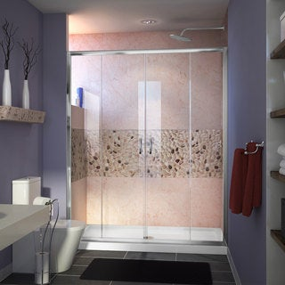 DreamLine Visions Frameless Sliding Shower Door and SlimLine 34 x 60-inch Single Threshold Shower Base