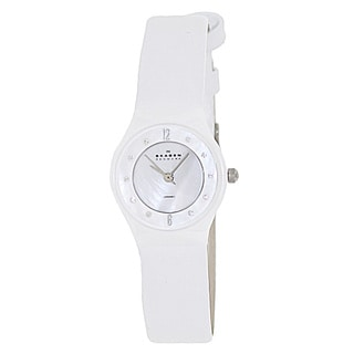 Skagen Women's 233XSCLW White Leather Quartz Watch with White Dial