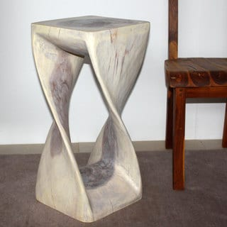 Hand-carved 12 x 26 Agate Grey Oiled Twist Stool (Thailand)