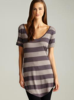 Colorfast Cuffed Sleeve Hi-Lo Striped Top