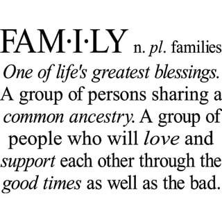'Family: One of Life's Greatest Blessings' Vinyl Wall Art Lettering