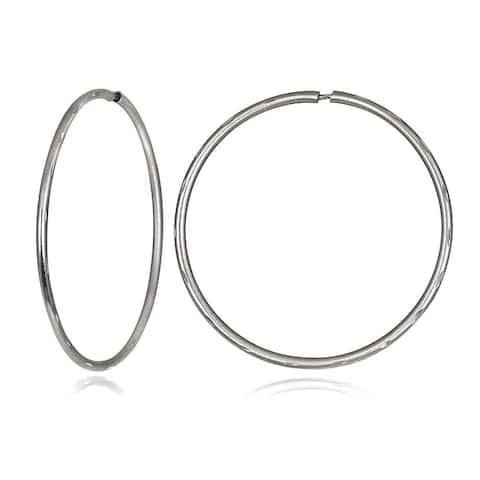 Mondevio 10k Gold 21mm Endless Diamond Cut Hoop Earrings
