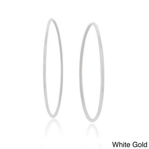 Mondevio 14k Gold 18mm Endless Diamond Cut Hoop Earrings