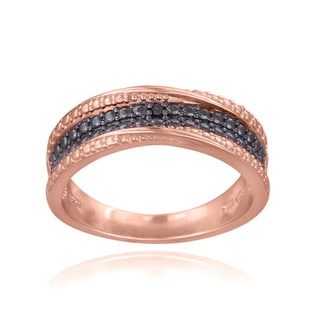 DB Designs 18K Rose Gold over Sterling Silver Black Diamond Accent Twist Ring