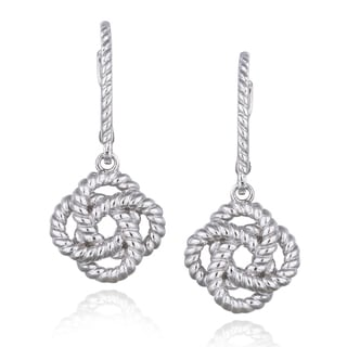 Mondevio Sterling Silver Rope Design Love Knot Flower Dangle Leverback Earrings