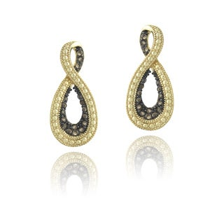 Glitzy Rocks 18k Gold Over Silver Smoky Quartz Infinity Dangle Earrings