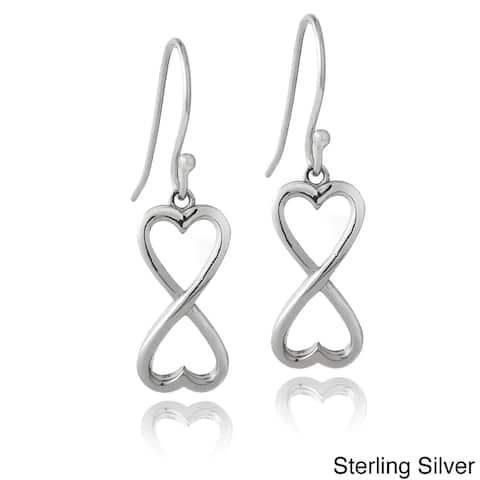 Mondevio Sterling Silver Infinity Heart Dangle Earrings