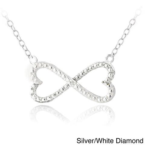 DB Designs Sterling Silver Diamond Accent Infinity Hearts Necklace