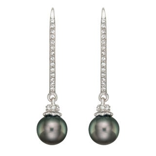 Pearlyta Silver Black Tahitian Pearl and CZ Hook Earrings (9-10 mm) with Gift Box