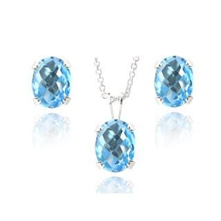 Glitzy Rocks Sterling Silver 4 1/2ct TGW Swiss Blue Topaz Oval Stud Earrings and Necklace Set