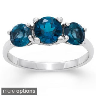 Gioelli Sterling Silver Gemstone 3-stone Ring