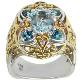 Michael Valitutti Two-tone Aquamarine, London Blue Topaz, Pink Sapphire and White Sapphire Ring