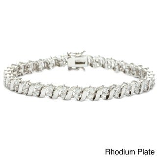 Simon Frank Goldtone or Silvertone Cubic Zirconia Tennis Bracelet (2 options available)