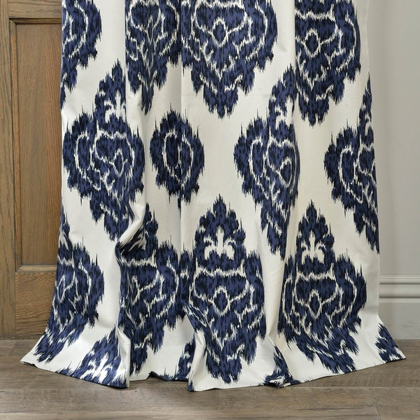 exclusive fabrics ikat blue printed cotton curtain panel free shipping today