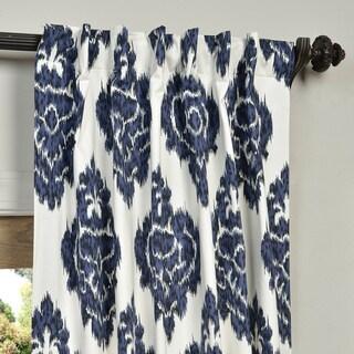 Exclusive Fabrics Ikat Blue Printed Cotton Curtain Panel