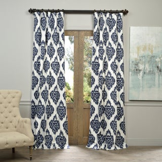 Exclusive Fabrics Ikat Blue Printed Cotton Curtain Panel (4 options available)