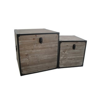 Handmade Set of 2 Distressed Wood Cube Trunks (China)