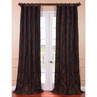 Exclusive Fabrics Magdelena Black Cognac Faux Silk Jacquard Curtain Panel