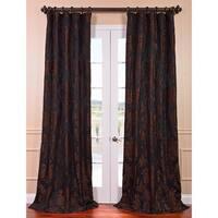 Exclusive Fabrics Magdelena Black Cognac Faux Silk Jacquard Curtain Panel