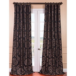 Exclusive Fabrics Astoria Black/ Pewter Faux Silk Jacquard Curtain Panel
